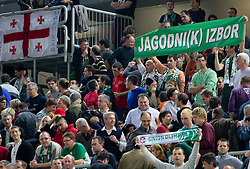 Fans of Goran Jagodnik (12) of Olimpija  during basketball match between KK Union Olimpija (SLO) and Panathinaikos (GRE) in Group D of Turkish Airlines Euroleague, on November 4, 2010 in Arena Stozice, Ljubljana, Slovenia. Union Olimpija defeated Panathinaikos 85-84. (Photo By Vid Ponikvar / Sportida.com)