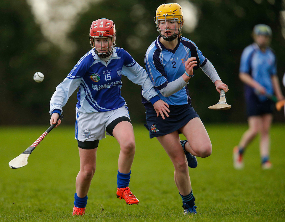 All Ireland Schools Senior B Camogie Quarter Final at Dunganny, Meath, 30th January 2016.<br /> Dunshaughlin CC vs Mercy Roscommon<br /> Juiliette Wall (Dunshaughlin CC) &amp; Eala Coyle (Mercy Roscommon)<br /> Photo: David Mullen /www.cyberimages.net / 2016