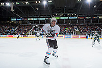 KELOWNA, CANADA - DECEMBER 30: Cal Foote #25 of Kelowna Rockets takes a shot against the Everett Silvertips on December 30, 2015 at Prospera Place in Kelowna, British Columbia, Canada.  (Photo by Marissa Baecker/Shoot the Breeze)  *** Local Caption *** Cal Foote;