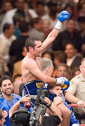 May 6, 2006 - Las Vegas, NV - Oscar DeLaHoya celebrates his victory over Ricardo Mayorga at the MGM Grand Garden Arena.  DeLaHoya captured the title via 6th round TKO.