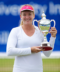 LIVERPOOL, ENGLAND - Saturday, June 22, 2013: Women's 2013 Champion Coco Vandeweghe with the trophy during Day Three of the Liverpool Hope University International Tennis Tournament at Calderstones Park. (Pic by David Rawcliffe/Propaganda)