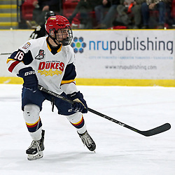 WELLINGTON, ON - JANUARY 18: Jacob Vreugdenhill #16 of the Wellington Dukes follows the play in the first period on January 18, 2019 at Wellington and District Community Centre in Wellington, Ontario, Canada.<br /> (Photo by Ed McPherson / OJHL Images)