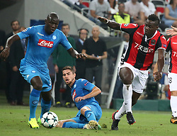 NICE, Aug. 23, 2017  Mario Balotelli (R) of Nice vies with Kalidou Koulibaly (L) of Napoli during a Champions League playoff round, second leg soccer match between Nice and Napoli in Nice, France on Aug. 22, 2017. Napoli won 2-0. (Credit Image: © Serge Haouzi/Xinhua via ZUMA Wire)