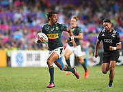 South African player Steadman Gans scores a try in the game South Africa vs New Zealand All Blacks during the Cathay Pacific/HSBC Hong Kong Sevens festival at the Hong Kong Stadium, So Kon Po, Hong Kong. on 8/04/2018. Picture by Ian  Muir.