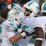 Brian Hartline, (left), Miami Dolphins is congratulated by team mate Charles Clay after scoring a touchdown during the New York Jets Vs Miami Dolphins  NFL American Football game at MetLife Stadium, East Rutherford, NJ, USA. 1st December 2013. Photo Tim Clayton