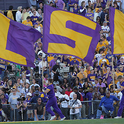 08 November 2008 The LSU flag team runs after a score during the Alabama Crimson Tide SEC West game against the LSU Tigers at Tiger Stadium in Baton Rouge, LA.