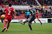 Goal, Shay McCartan of Lincoln City scores, Swindon Town 0-2 Lincoln City during the EFL Sky Bet League 2 match between Swindon Town and Lincoln City at the County Ground, Swindon, England on 12 January 2019.
