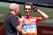 Alberto Contador during the signature control at the last step of the Vuelta de EspaÒa 2012