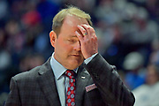 Mississippi Rebels head coach Kermit Davis reacts during an NCAA college basketball game against the Middle Tennessee Blue Raiders  in Nashville, Tenn., Friday, Dec. 21, 2018. (Jim Brown/Image of Sport)