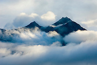 Peaks emerging from passing storm clouds Wrangell-St. Elias National Park Alaska