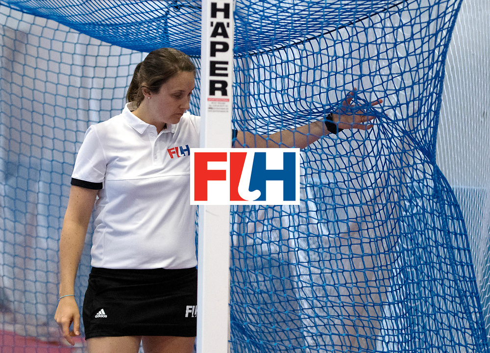 BERLIN - Indoor Hockey World Cup<br /> United States - Namibia<br /> foto: Umpire 	CARROLL Emily<br /> WORLDSPORTPICS COPYRIGHT FRANK UIJLENBROEK