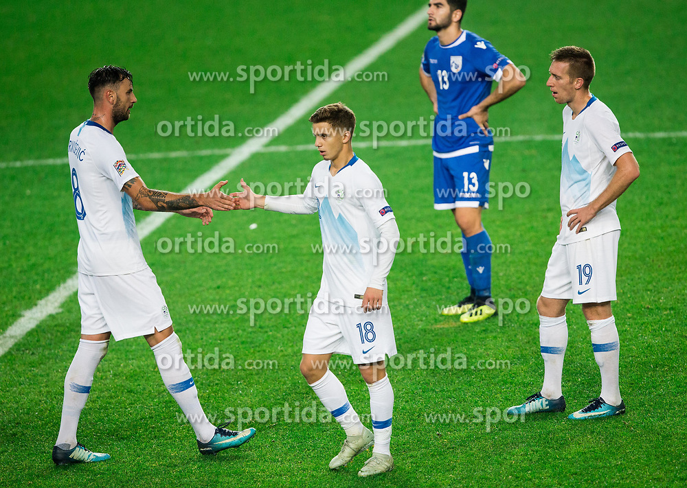 Amir Dervisevic of Slovenia, Luka Zahovic of Slovenia and Robert Beric of Slovenia after the football match between National Teams of Slovenia and Cyprus in Final Tournament of UEFA Nations League 2019, on October 16, 2018 in SRC Stozice, Ljubljana, Slovenia. Photo by Vid Ponikvar / Sportida