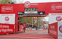 Tigist Tufa of Ethiopia crosses the line to finish first in the Elite Women's race at the Virgin Money London Marathon, Sunday 26th April 2015.<br /> <br /> Scott Heavey for Virgin Money London Marathon<br /> <br /> For more information please contact Penny Dain at pennyd@london-marathon.co.uk