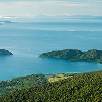 Darvel Bay from the summit of Gunung Silam, Sabah, Malaysia, Borneo, South East Asia.