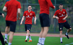 NANNING, CHINA - Sunday, March 25, 2018: Wales' Connor Roberts and Billy Bodin during a training session at the Guangxi Sports Centre ahead of the 2018 Gree China Cup International Football Championship final match against Uruguay. (Pic by David Rawcliffe/Propaganda)