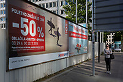 Billboard advertising selling summer sports goods reductions on Slovenska Cesta (street) in the Slovenian capital, Ljubljana on 27th June 2018, in Ljubljana, Slovenia.