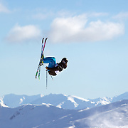 Joss Christensen, USA, in action during the Freeski Slopestyle Men's Final at Snow Park, New Zealand during the Winter Games. Wanaka, New Zealand, 18th August 2011. Photo Tim Clayton