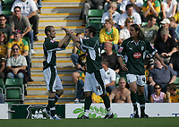 Photo: Lee Earle.<br /> Plymouth Argyle v Norwich City. Coca Cola Championship. 23/09/2006. Plymouth's Tony Capaldi (C) joins in the celebrations after their first goal.