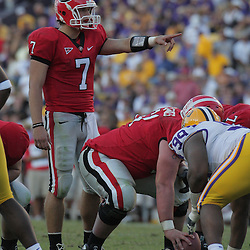 25 October 2008:  Georgia quarterback Matthew Stafford (7) calls an audible on a play during the Georgia Bulldogs 52-38 victory over the LSU Tigers at Tiger Stadium in Baton Rouge, LA.