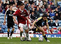 Photo: Paul Greenwood/Richard Lane Photography. <br />Burnley v Cardiff City. Coca-Cola Championship. 26/04/2008. <br />Cardiff's Peter Whittingham, (R) looses the ball under pressure from Chris McCann