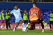 Rochdale goalkeeper (on loan from Brighton and Hove Albion) Robert Sanchez) (25) closes down Coventry City defender Brandon Mason (3) during the EFL Sky Bet League 1 match between Coventry City and Rochdale at the Trillion Trophy Stadium, Birmingham, England on 16 November 2019.