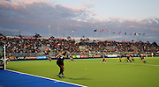 A general view as Olivia Merry takes a penaltycorner during a Black Sticks Women v South Africa preliminary pool match at the Glasgow National Hockey Stadium. Glasgow Commonwealth Games 2014. Monday 28 July 2014. Scotland. Photo: Andrew Cornaga/www.Photosport.co.nz