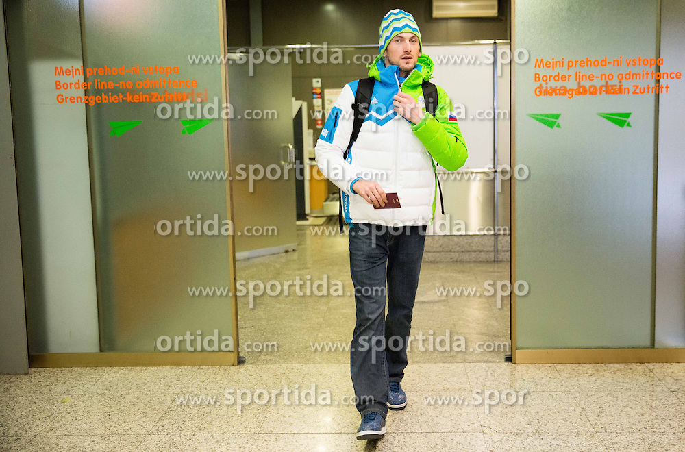 Jakov Fak at reception of Slovenia team arrived from Winter Olympic Games Sochi 2014 on February 25, 2014 at Airport Joze Pucnik, Brnik, Slovenia. Photo by Vid Ponikvar / Sportida