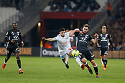 Morgan Sanson of Olympique de Marseille and Luca Tousart of Olympique Lyonnais during the French Championship Ligue 1 football match between Olympique de Marseille and Olympique Lyonnais on march 18, 2018 at Orange Velodrome stadium in Marseille, France - Photo Philippe Laurenson / ProSportsImages / DPPI