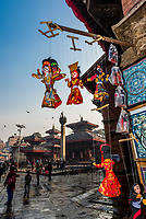 Handicrafts for sale at shops ringing the Durbar Square, Kathmandu, Nepal.