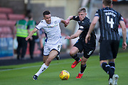 2nd Aug 2019, East End Park, Dunfermline, Fife, Scotland, Scottish Championship football, Dunfermline Athletic versus Dundee;  Cammy Kerr of Dundee takes on Tom Beadling of Dunfermline Athletic