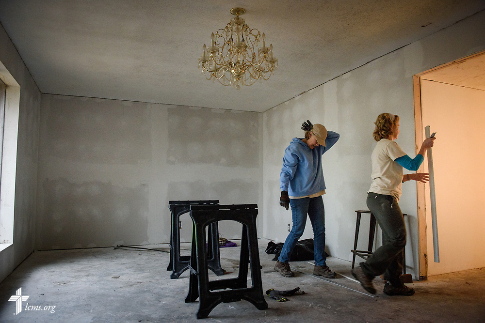 Volunteers Suzanne Busse (left) and Linda Gehrt, volunteers from Saint Paul Lutheran Church, Mount Prospect, Ill., help rebuild a church member's home on Wednesday, Feb. 7, 2018, in Port Arthur, Texas. The two were part of a team of volunteers rebuilding the home, which was severely damaged from Hurricane Harvey almost six months ago. LCMS Communications/Erik M. Lunsford