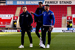 Ollie Clarke, Tom Nichols and Alexis Andre of Bristol Rovers - Mandatory by-line: Robbie Stephenson/JMP - 18/01/2020 - FOOTBALL - Aesseal New York Stadium - Rotherham, England - Rotherham United v Bristol Rovers - Sky Bet League One