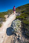 Hiker on the Torrey Pines Trail, Santa Rosa Island, Channel Islands National Park, California USA
