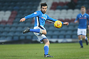 Joe Rafferty shoots during the EFL Sky Bet League 1 match between Rochdale and Oxford United at Spotland, Rochdale, England on 16 December 2017. Photo by Daniel Youngs.