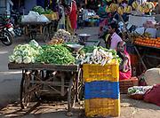 Selling vegetables at Sanjeevani Nagar Square, Shahpura, Madhya Pradesh, India.