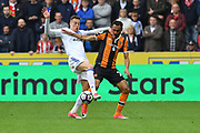 Javier Manquillo (21) Sunderland AFC defender and Hull City midfielder Ahmed Elmohamady (27)  during the Premier League match between Hull City and Sunderland at the KCOM Stadium, Kingston upon Hull, England on 6 May 2017. Photo by Ian Lyall.