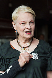 © Licensed to London News Pictures. 02/07/2015. London, UK. VIVIENNE WESTWOOD at an artists against Transatlantic Trade and Partnership (TTIP) photocall at the New Vic Theatre in London. The TTIP is a free trade and investment treaty currently being negotiated between the European Union and the USA. Photo credit : Vickie Flores/LNP