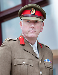 © Licensed to London News Pictures. 18/07/2018. Woking, UK.  Brigadier Christopher Coles arrives at Woking Coroner's Court. The coroner will read out his full ruling today. Private Sean Benton was found with five gunshot wounds to his chest at Deepcut army base in 1995. Photo credit: Peter Macdiarmid/LNP