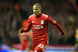 LIVERPOOL, ENGLAND - Wednesday, December 15, 2010: Liverpool's Nathan Eccleston in action against FC Utrecht during the UEFA Europa League Group K match at Anfield. (Photo by: David Rawcliffe/Propaganda)