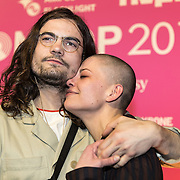 NLD/Amsterdam/201702013- Edison Pop Awards 2017, Tim van Delft en partner Sharon Kovacs