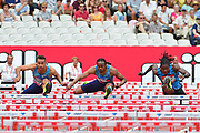 Aries Merritt (USA) races Milan Trajkovic (CYP) and Eddie Lovett (ISV) in the 110m Hurdles Men Final during the Muller Anniversary Games at the London Stadium, London, England on 9 July 2017. Photo by Jon Bromley.