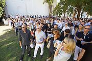 "13th Biennale of Architecture..Giardini..Austrian Pavillion..Wolfgang Tschapeller, Rens Veltman, Martin Perktold, ""hands have no tears to flow..."", 2012..Opening ceremony."