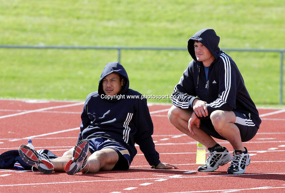 Tana Umaga and Norm Maxwell at All Black Training, Trusts Stadium, Waitakere, Auckland, New Zealand on Tuesday 2 November, 2004. The All Blacks leave for a tour of Europe on Friday.<br />
