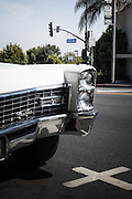 Los Angeles, April 9 2012- Cadillac on Sunset Boulevard.