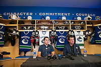PENTICTON, CANADA - SEPTEMBER 8: Bo Horvat and Jim Benning, GM of the Vancouver Canucks sit at a press conference to announce a 6 year contract extension for Horvat on September 8, 2017 at the South Okanagan Event Centre in Penticton, British Columbia, Canada.  (Photo by Marissa Baecker/Shoot the Breeze)  *** Local Caption ***
