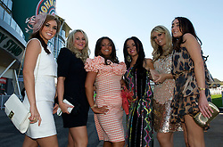 LIVERPOOL, ENGLAND, Thursday, April 7, 2011: Birkenhead girls Sarah, Alison, Izzy, Natasha, Becky and Katie during Ladies' Day on Day Two of the Aintree Grand National Festival at Aintree Racecourse. (Photo by David Rawcliffe/Propaganda)