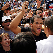 "On the first day of early voting in Florida thousands of passionate Barack Obama fans show up to his ""early vote for change"" rally at George M. Steinbrenner field."