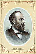 James Abram Garfield (1831-1881) 20th President of the United States. Shot 2 July, died 19 September. Colour-printed wood engraving.
