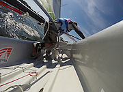 Jun 2, 2014; St. Mary's City, MD, USA; The Yale Bulldogs win the APS Team Inter-Collegiate Sailing Association National Championship held at the College of St. Mary's in St. Mary's City, MD. Photo taken by a GoPro remote located on the starboard stern side facing forward. Mandatory Credit: Brian Schneider/www.ebrianschneider.com