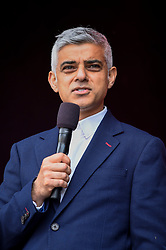 © Licensed to London News Pictures. 08/06/2019. LONDON, UK.  Sadiq Khan, Mayor of London, addresses the crowds celebrating the EID Festival in Trafalgar Square, an event hosted by The Mayor of London.  The Mayor's festival takes place in the square one week after the end of Ramadan and includes a variety of stage performances and cultural activities.  Photo credit: Stephen Chung/LNP